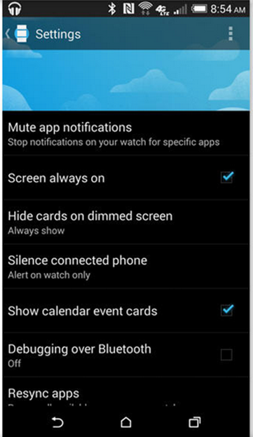 Android Wear app settings