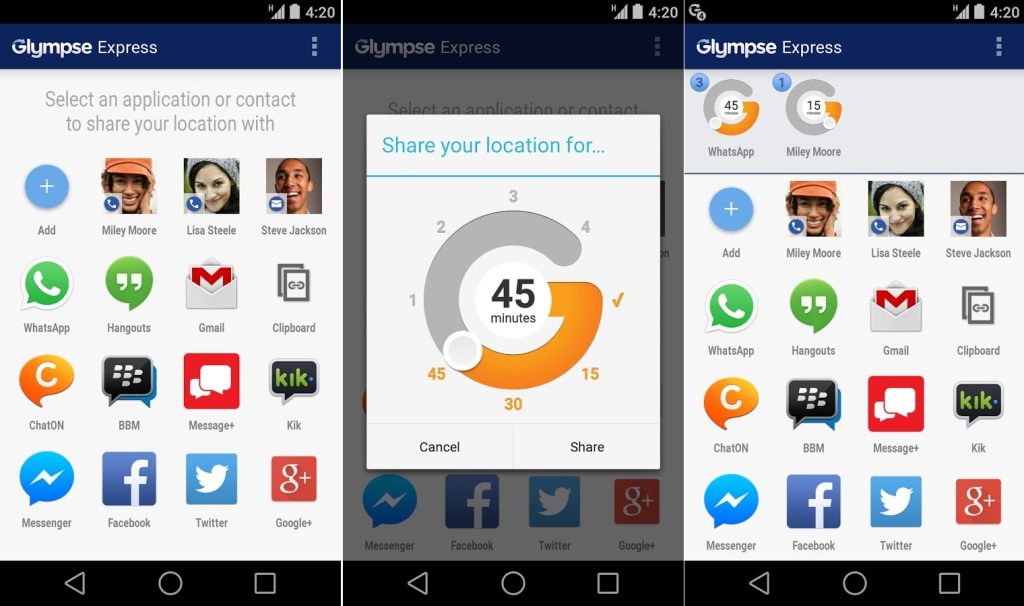 Popular Android Apps For 2014-2015 Glympse express app