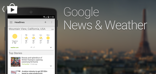 Google Updates for News and Weather App