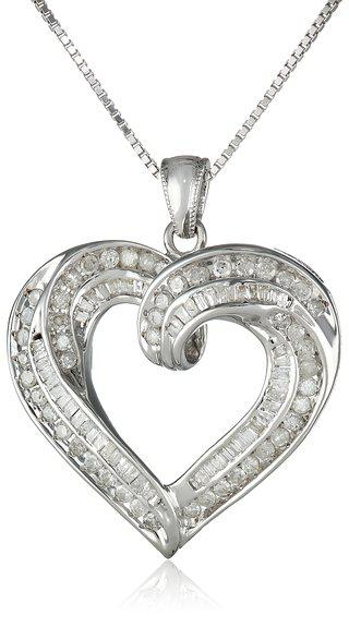 Sterling Silver 1cttw Diamond Heart Pendant