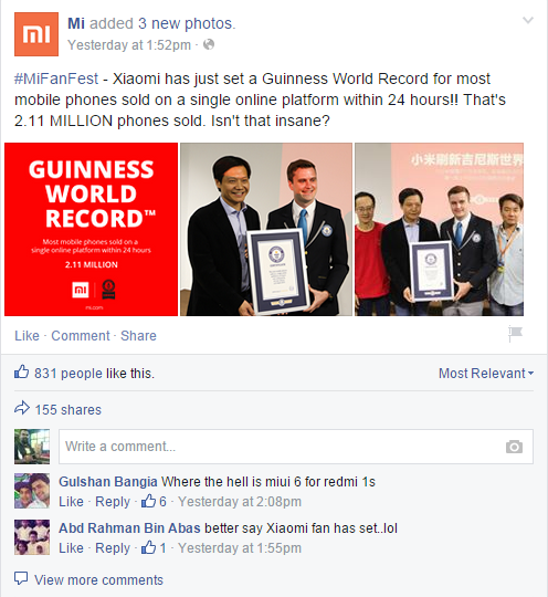 Xiaomi shared its success on Facebook