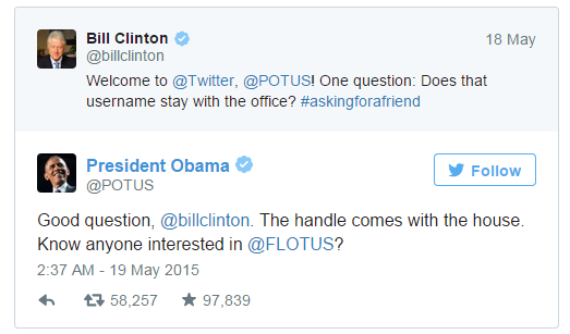 Bill Clinton asking question to President Obama