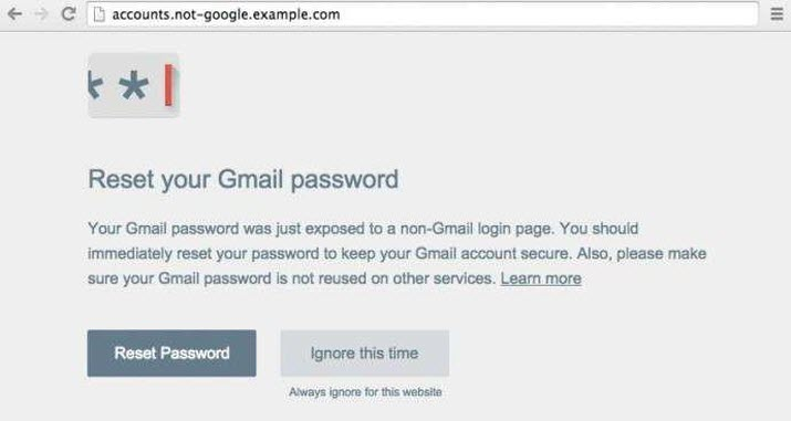 "Example of a ""Password Alert"" on accessing a Non-Google Login Page"