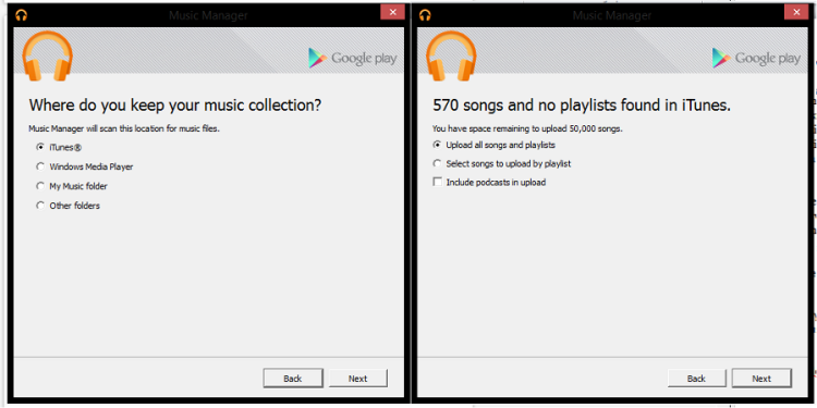showing the library - folder options that you would like to use for uploading the songs