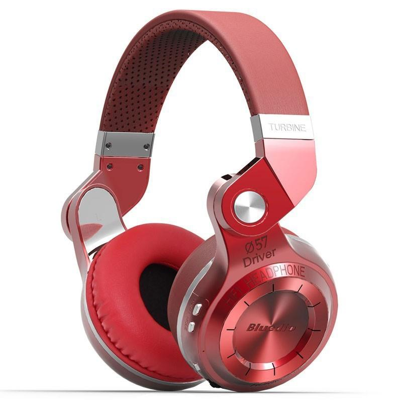 Bluedio T2s Turbine Bluetooth Wireless Stereo Headphones with Microphone, 57mm Drivers, 195° Rotary Folding, Red